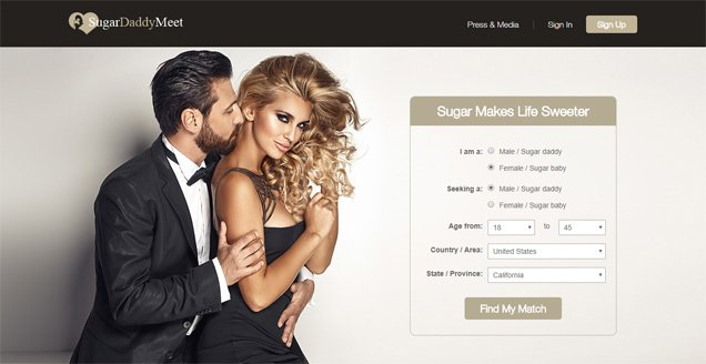 Sugar Daddy Meet Homepage